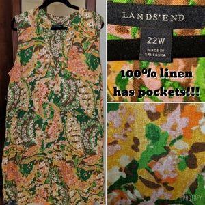 Lands End Linen Sheath Dress with Pockets, size 22